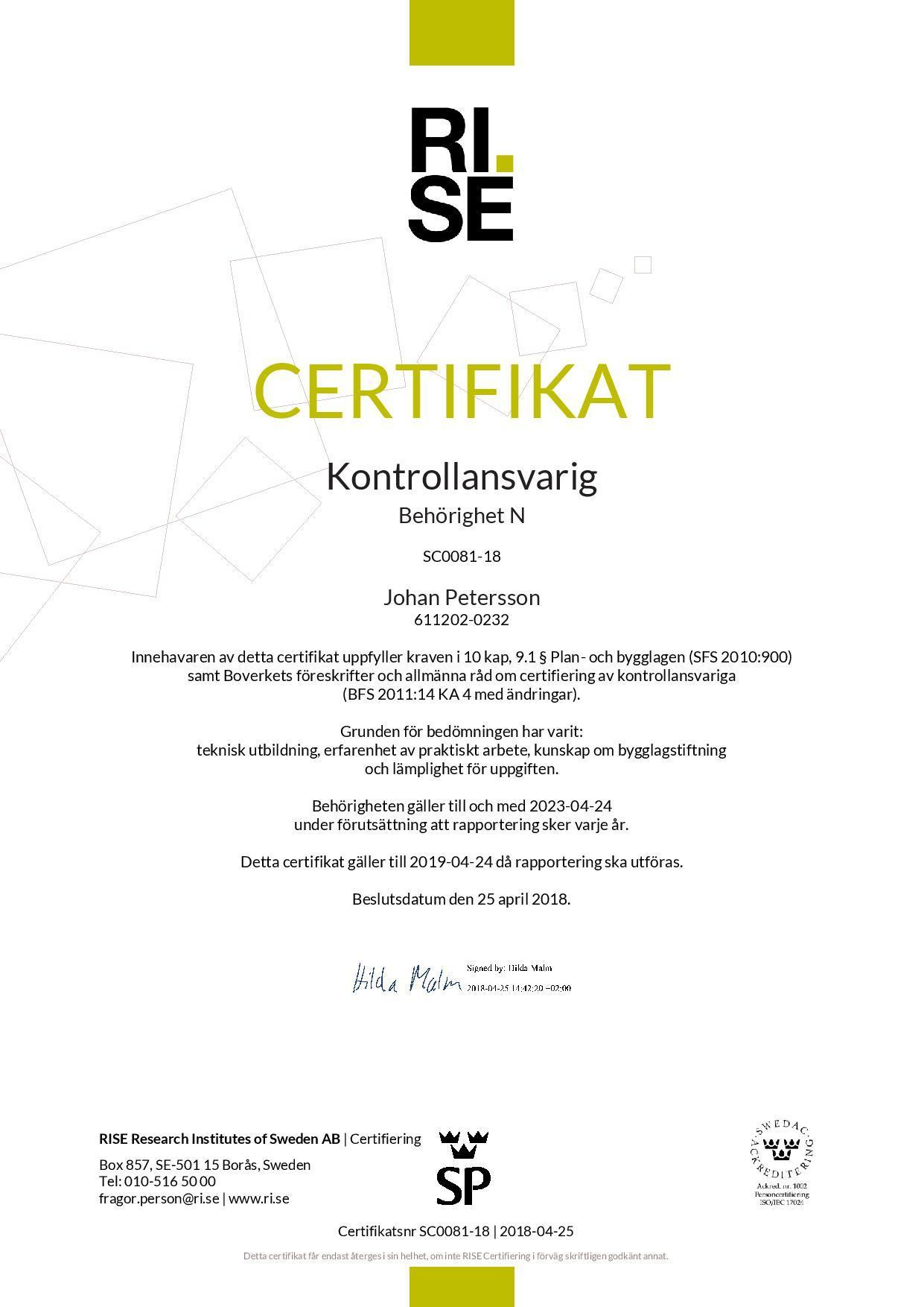 Certifikat Kontrollansvarig