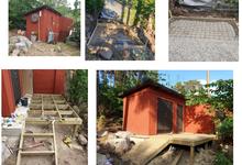 Foundation, Garden shed, decking & fence construction – Blackebergsvägen, Bromma, Stockholm